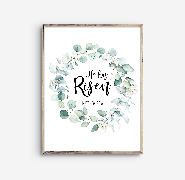 He Has Risen Wreath Matthew 28:6 Bible Verse Printable ...