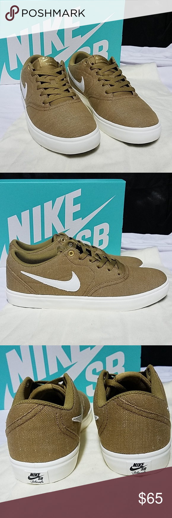 34adca262a91 ... latest fashion 60af1 c896f Nike SB Check Solarsoft Canvas Premium Sz  9.5 New Color Golden beige ...