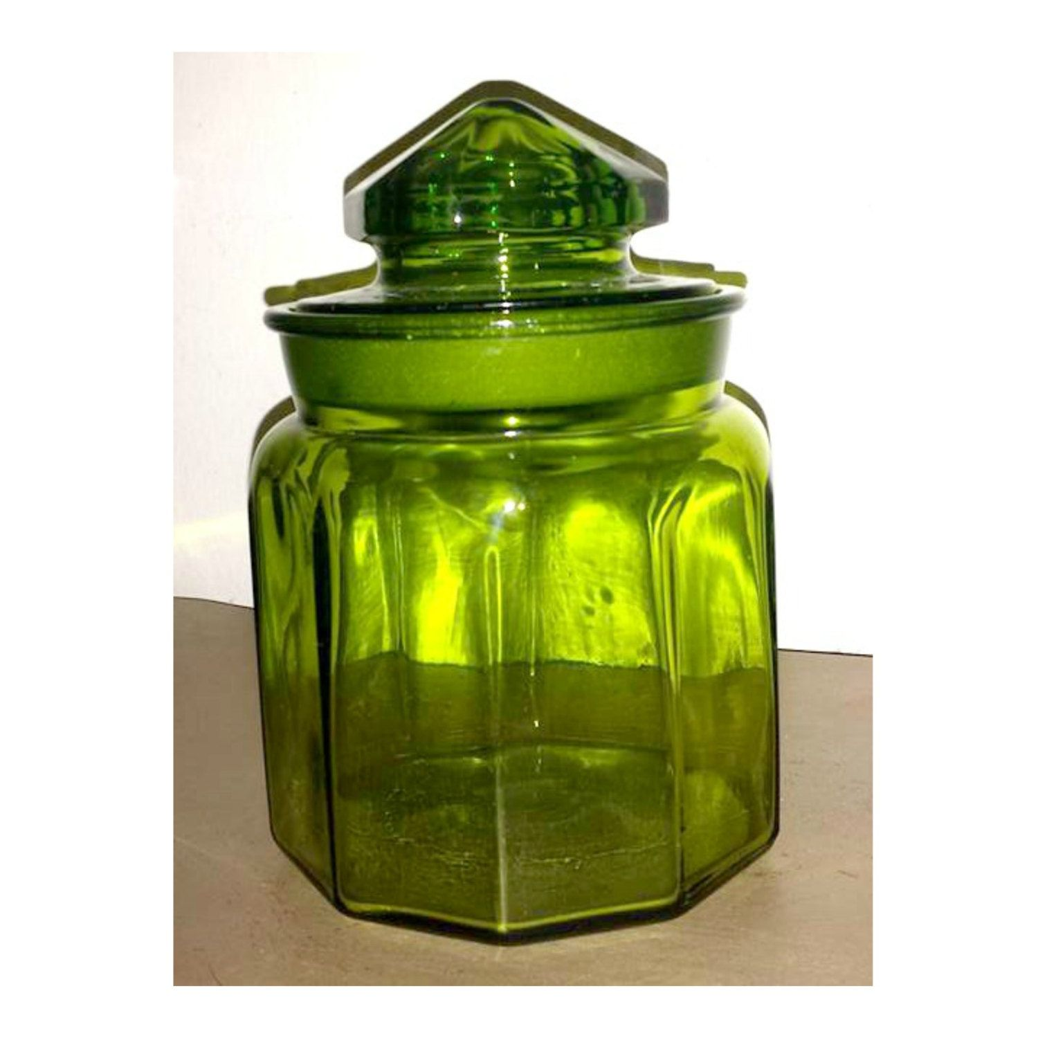 L E Smith Green Glass Canister,Green Apothecary Jar, Green Glass Jar,Glass  Canister