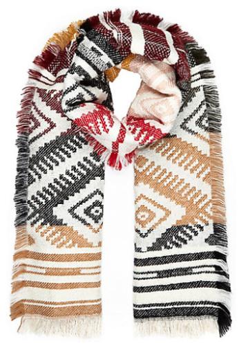 8cb10c7b4cb3 Echarpe à motif amérindien ecru, noir, rouge, bordeau, beige, River Island