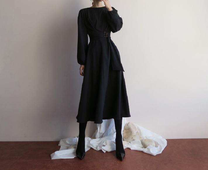 Koreanische Hepburn-Stil kurze einfarbige schwarz braunes Kleid für Frauen Langarm …   – minimal style outfits