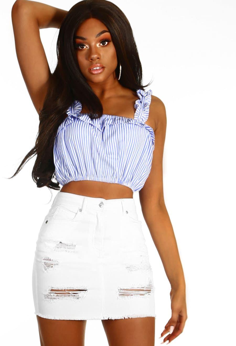 70e7c9534 Foolish White Distressed Denim Mini Skirt - 6   Denim skirt outfits ...