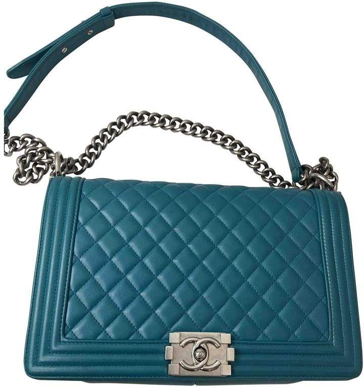 Chanel Boy Blue Leather Handbag Bolsos