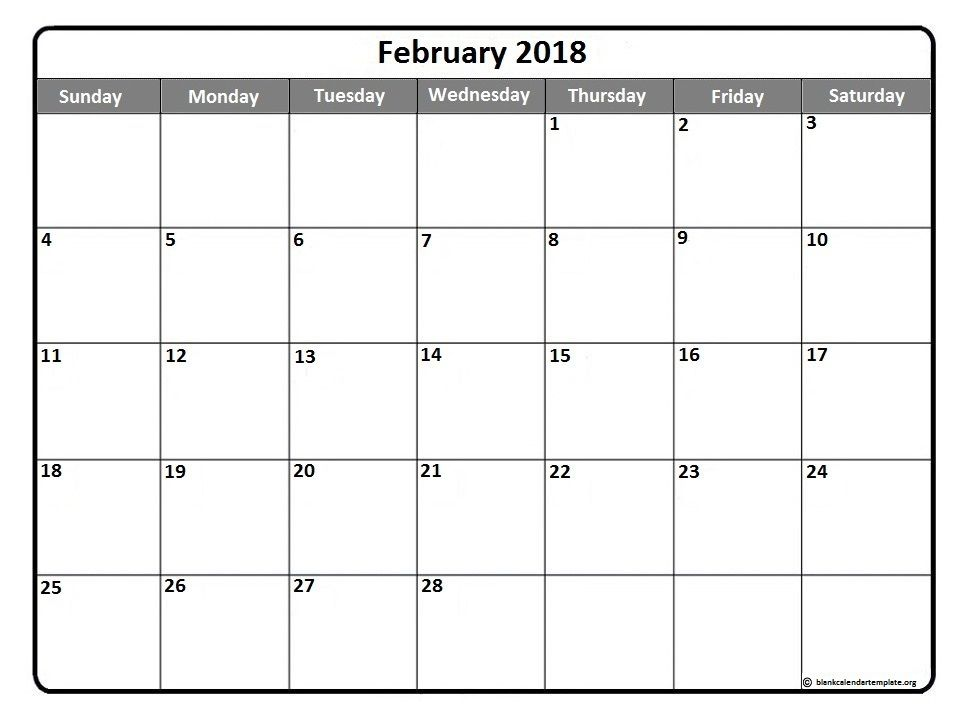 February 2018 printable calendar template | Printable calendars ...