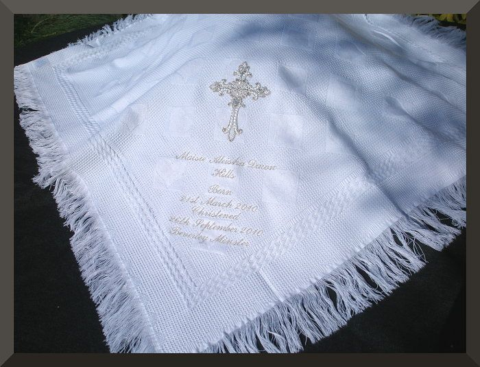 christening+blankets/shawls | Christening Baptism shawl blanket with a large silver embroidered ...