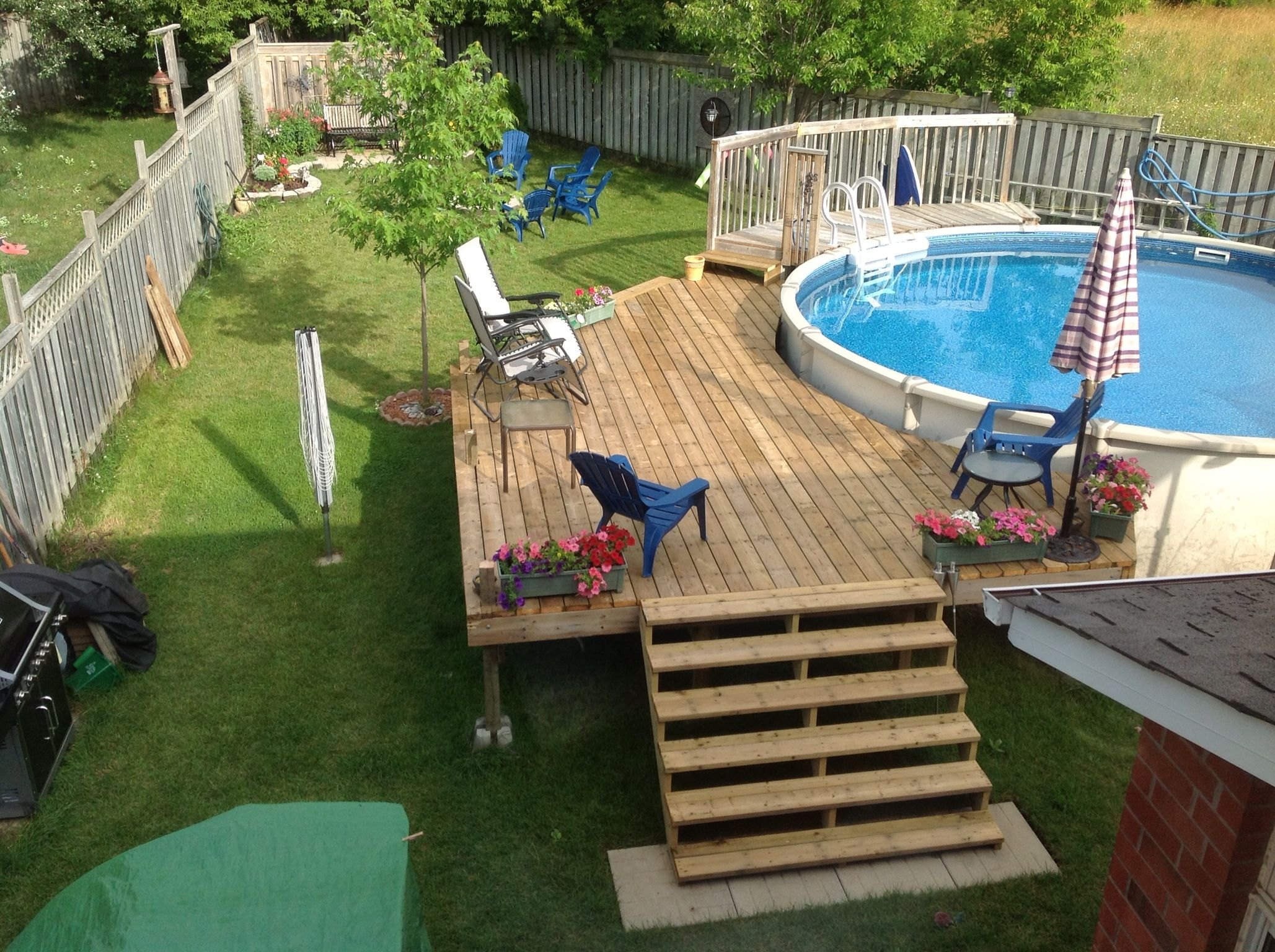 above ground pool deck for the backyard | Our deck around our above ground pool. | Above ground pool ...