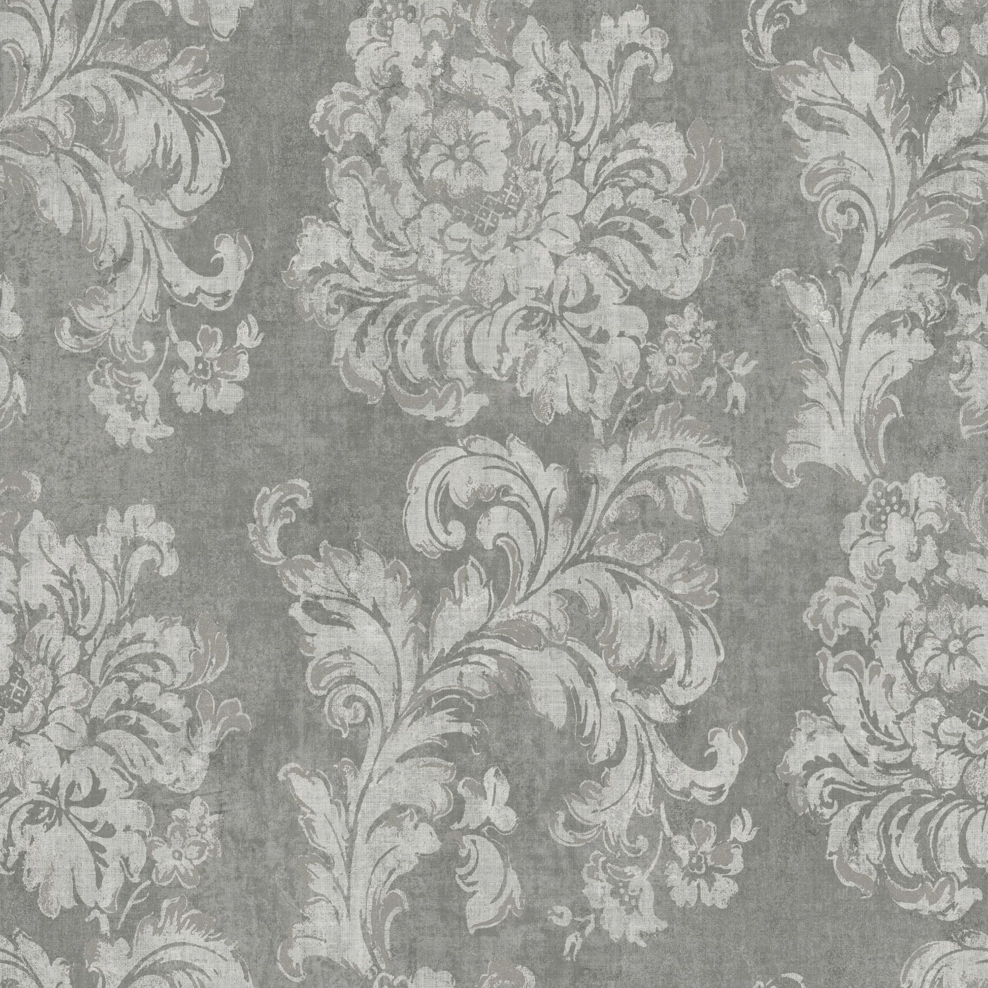 Gold Decadent Trail Metallic Effect Light Grey Wallpaper - Departments