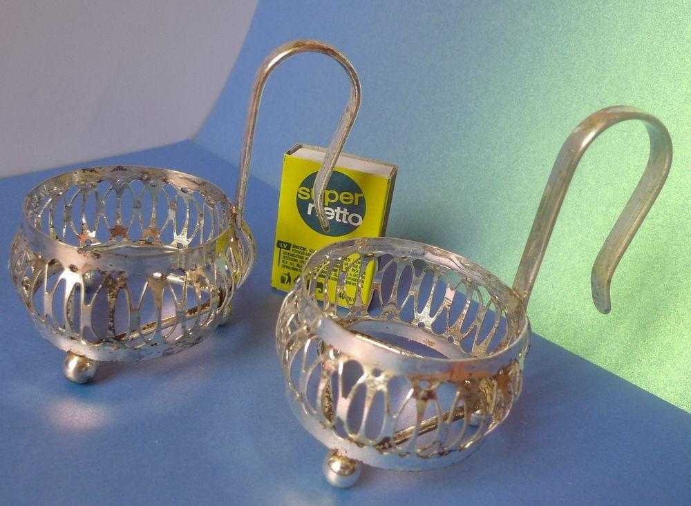 Vintage Pair Cup Holders 2psc. USSR Soviet ? Decor Silver Plated podstakanniki