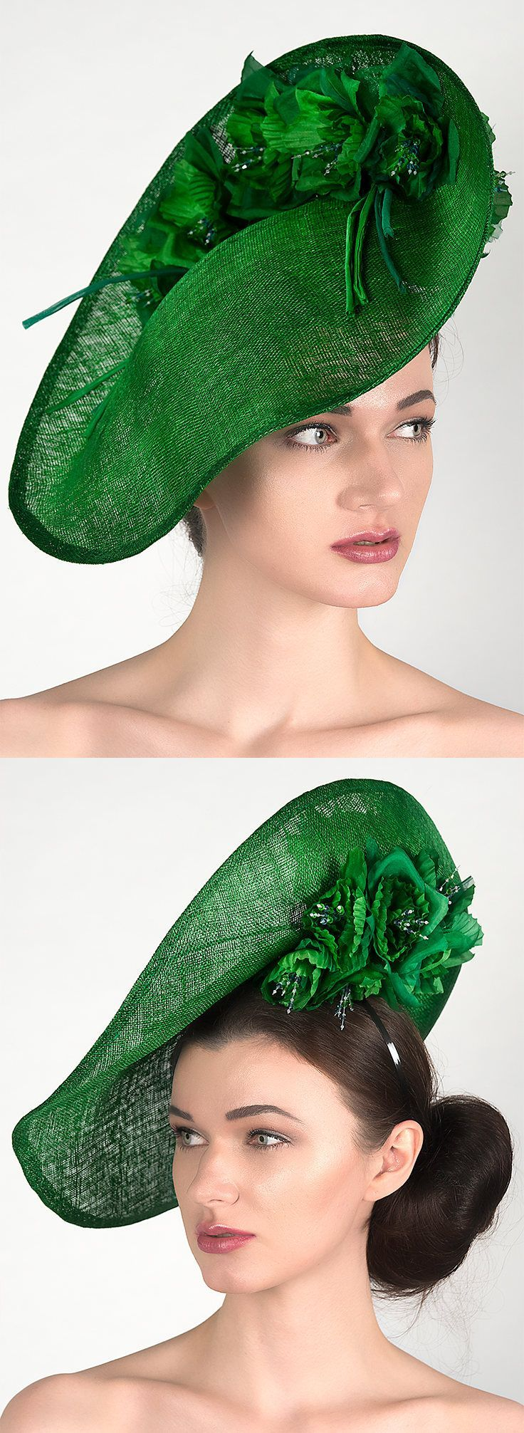 Emerald Green Wavy Slice Saucer Silk Floral Headpiece Fern Hat for the Races Royal Ascot Melbourne Cup Kentucky Derby Hatinator Bright #fascinatorstyles