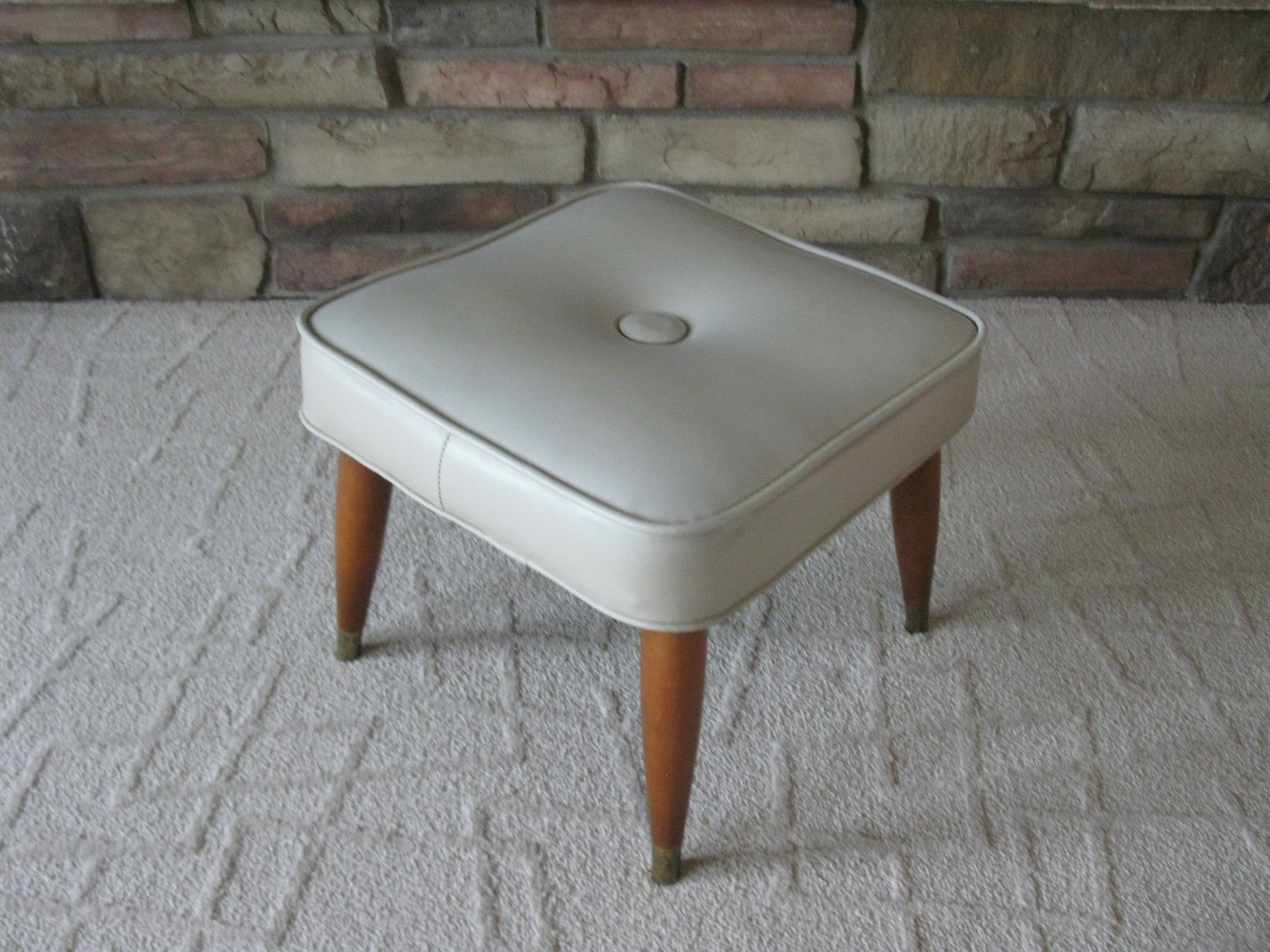 Large Vinyl Footstool Retro Hassock Mid Century Light Grey Taupe Vintage Ottoman Wood Legs Brass Feet Padded Stool Mad Men 60s Padded Stool Wood Legs Footstool