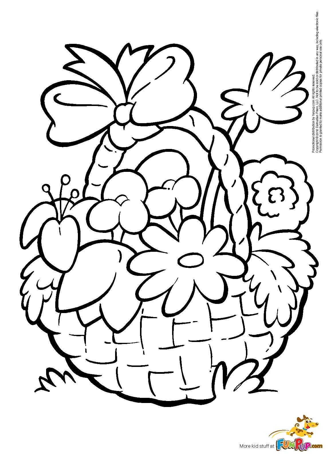 outline pictures flowers coloring pages for kids | Flower Basket Coloring Page | Easter egg coloring pages, Flower coloring pages, Free printable ...