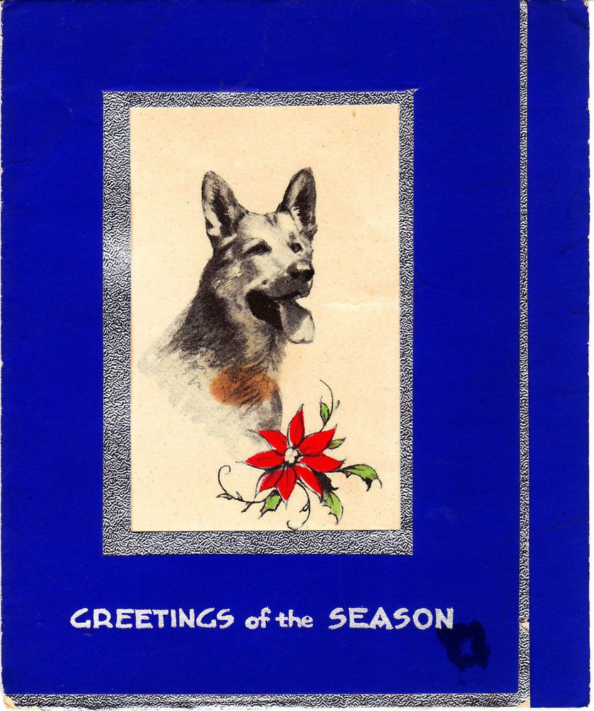 Art Deco Vintage Christmas Card With A German Shepherd Illustration