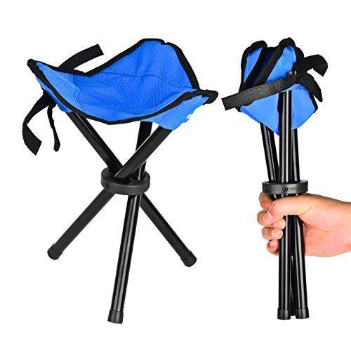 Eyourlife Foldable Stool Slacker Chair Tri Legged Portable Outdoor Folding  Tripod Camp Fish Stool (