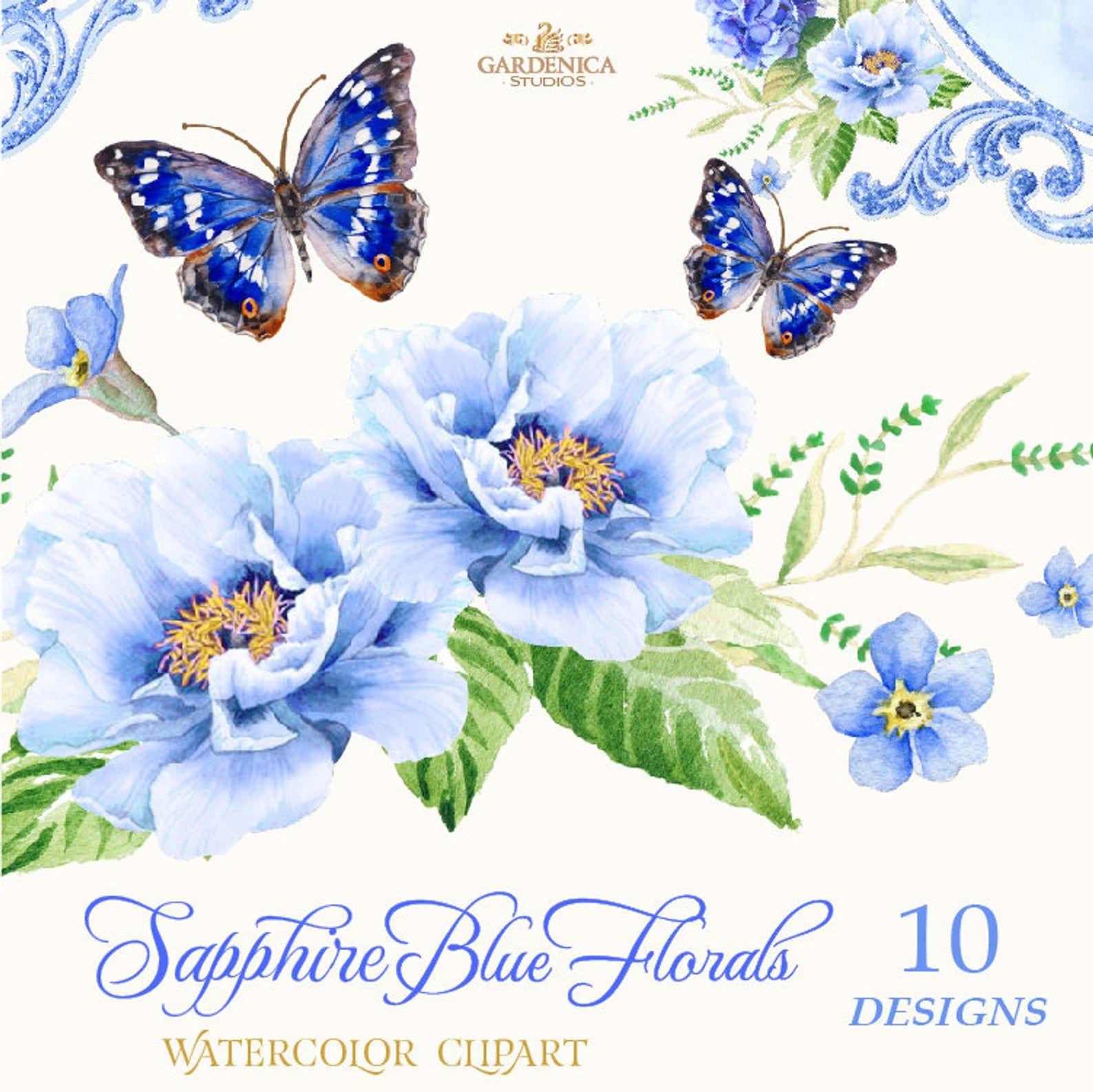 Blue Watercolor Flowers Clipart Blue Flowers Clipart Etsy In 2020 Digital Flowers Watercolor Flowers Clip Art