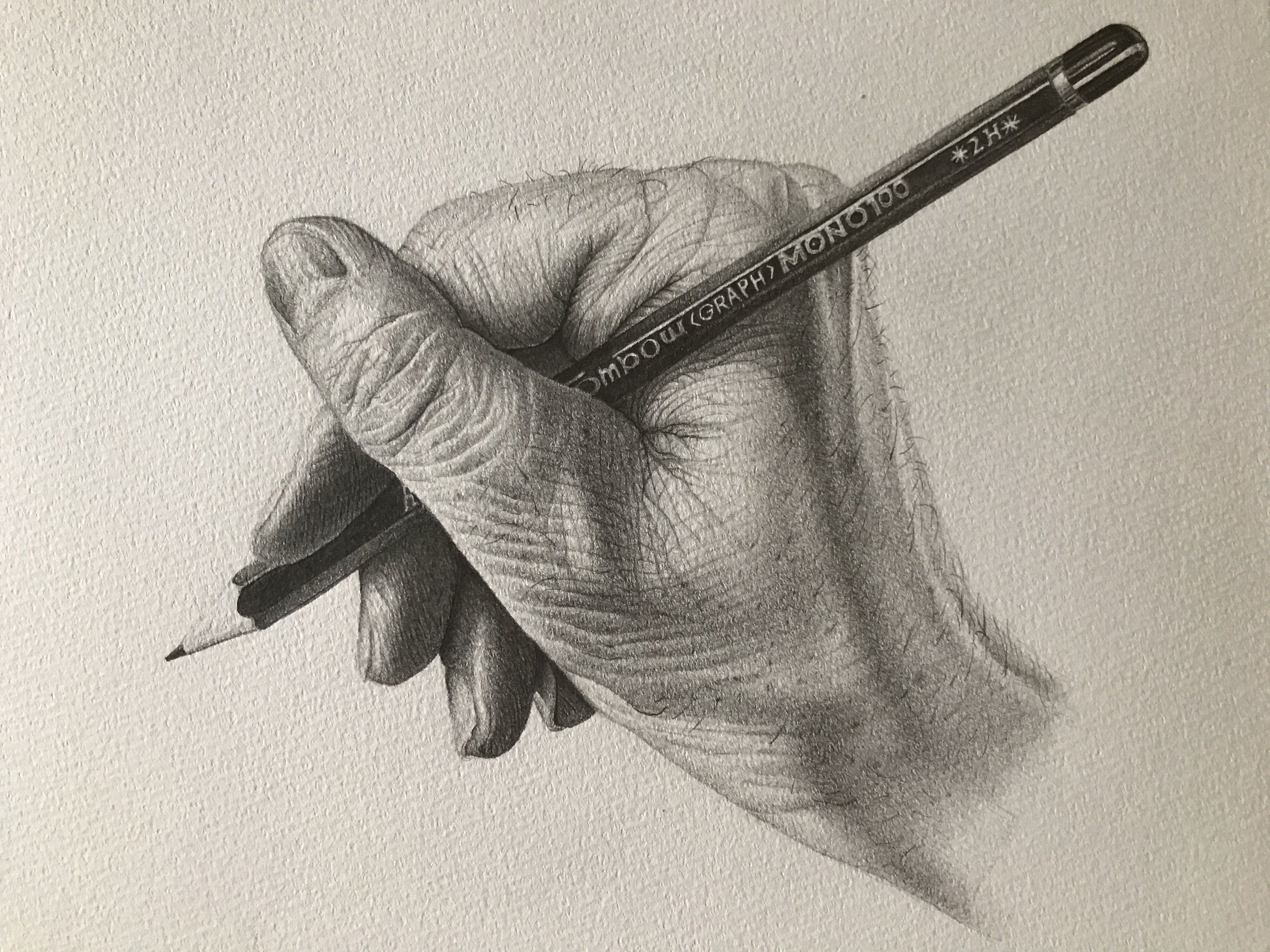 Line Drawing Holding Hands : Detailed drawing of a hand holding pencil reference