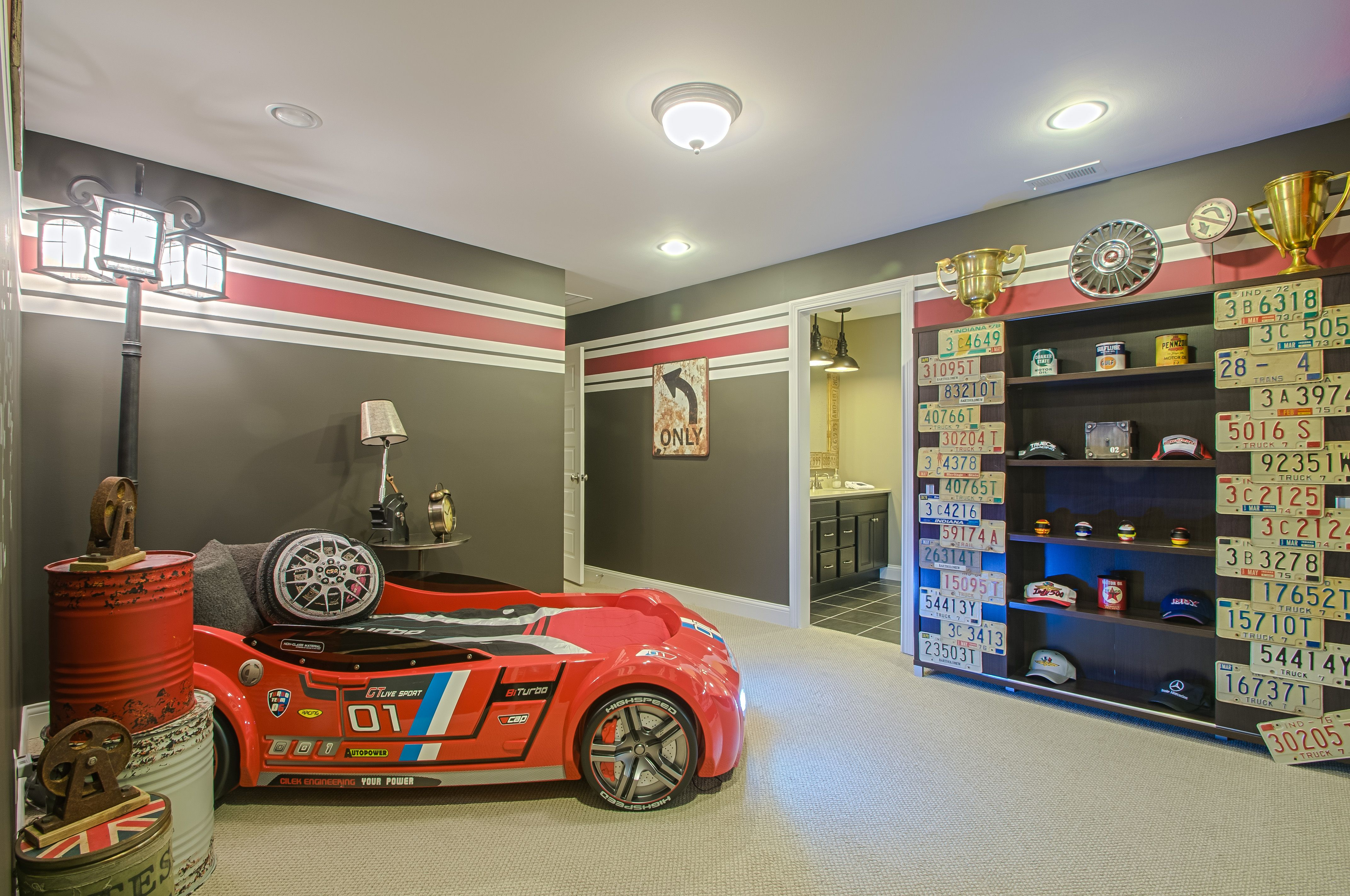 Race Car Themed Bedroom Children Decor Pinterest Car Bed Drums And Cen