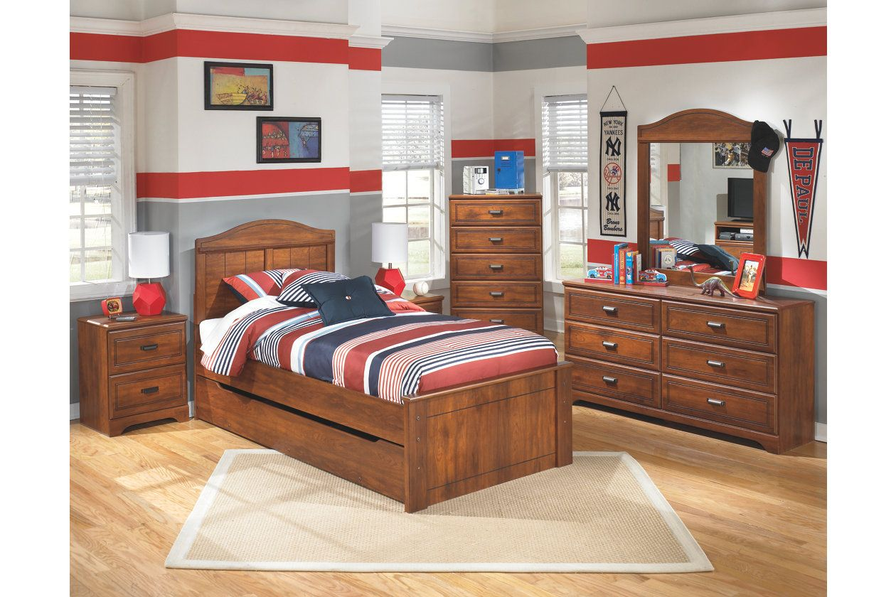 Barchan Kids Twin Panel Bed with Trundle Ashley