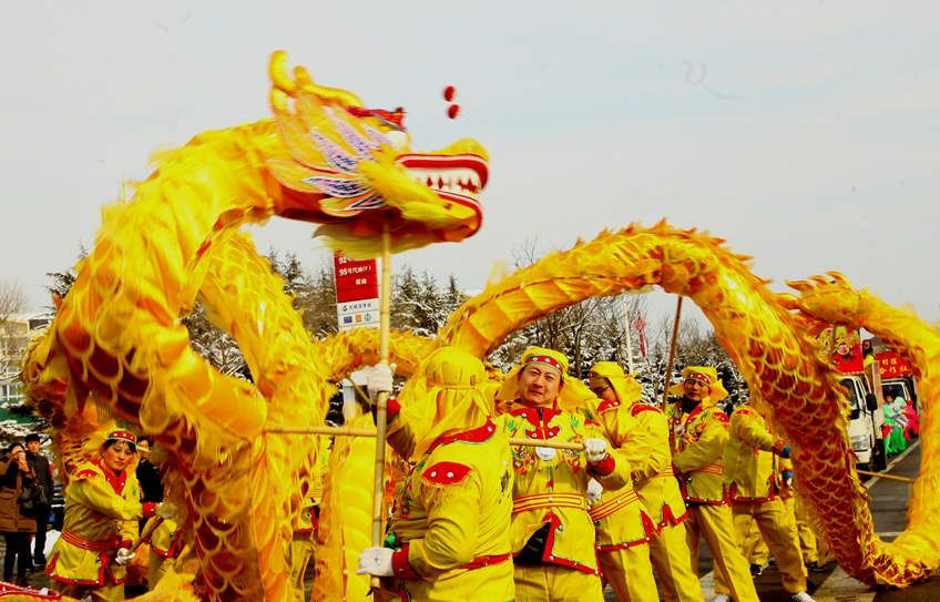 Chinese dragon puppet head, Selective focus. Chinese new