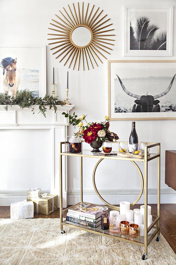 Beautiful Bar Cart Setup Via Zola Registry Diy Home Bar Living Room Decor Modern Decor