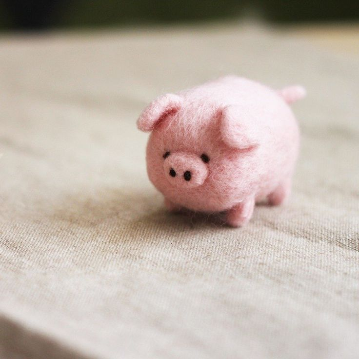 (with video teaching) round cute pig pig wool felt key ring material package - woolwoolfelt - DIY Kits #needlefelting