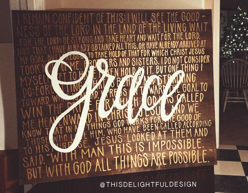 GRACE Custom Wood Sign Typography Hand Lettering