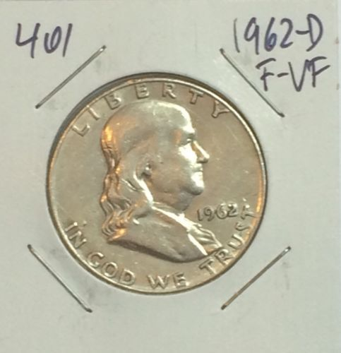 1962-D FRANKLIN HALF DOLLAR VG-F 90% SILVER COIN FOR YOUR COLLECTION! #401