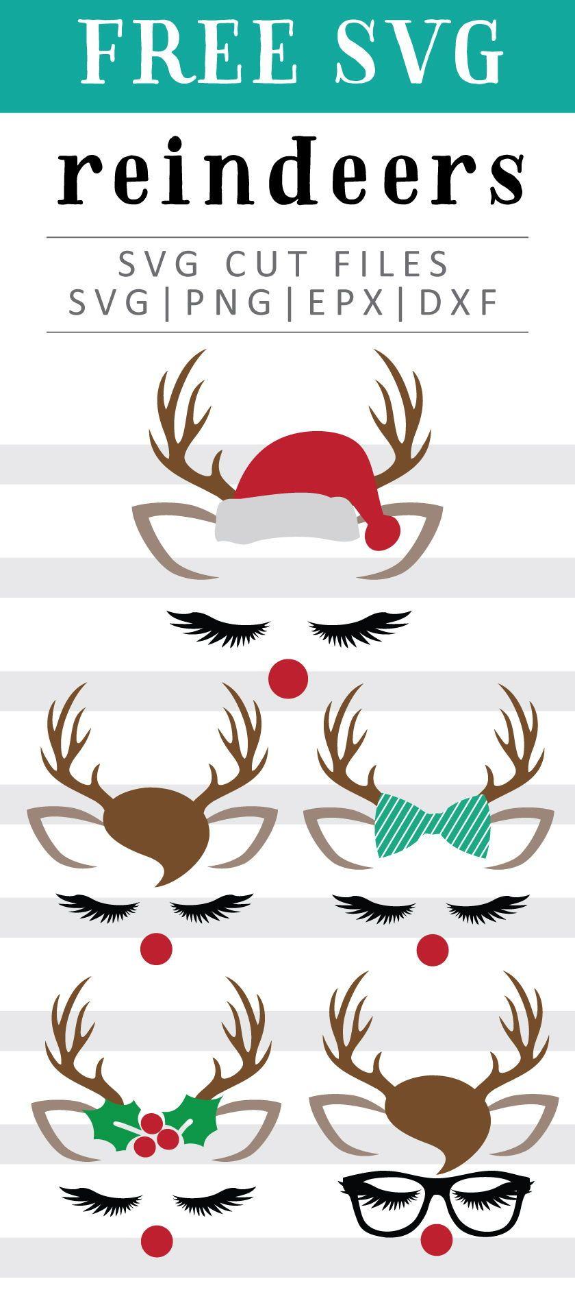 Reindeer Faces Free SVG, PNG, DXF, EPS Download by C. Design #cricutcrafts