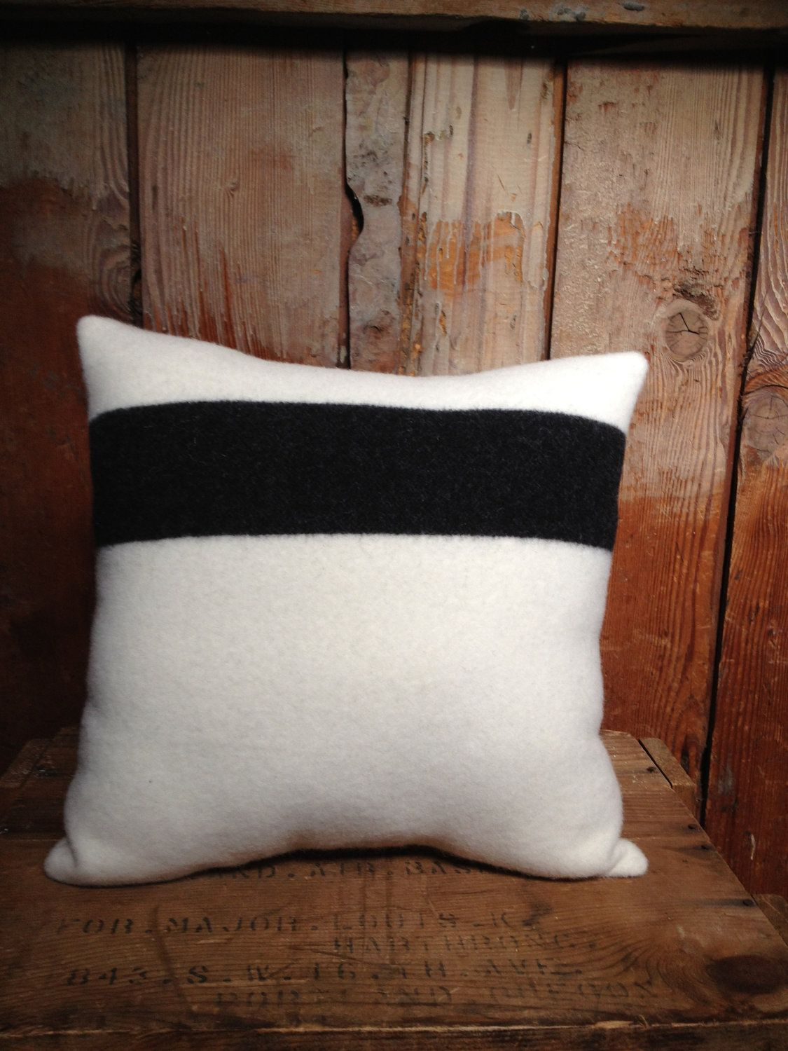 Pendleton PIllow, Striped Camp Blanket, Wool, Black & White, 15 x 15. $42.00, via Etsy.