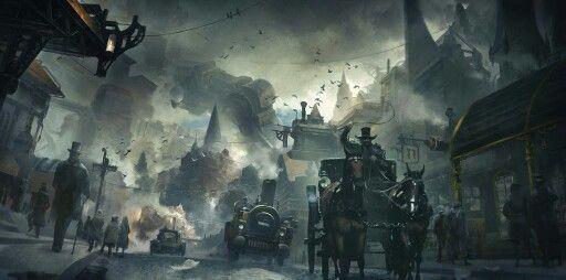 Victorian steampunk concept art.