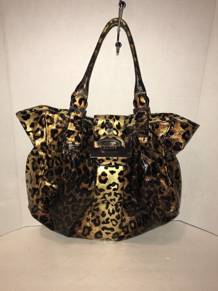 8857ae407e Guess Women s Leopard Print Faux Leather Handbag Extra Large XL ...