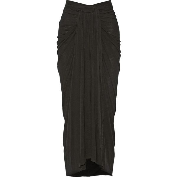 Rick Owens Lilies draped stretch-jersey maxi skirt ($250) ❤ liked on Polyvore featuring skirts, bottoms, maxi skirt, black, stretch jersey, jersey skirt, jersey maxi skirt and draped maxi skirt