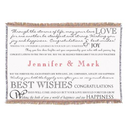 Personalized Congratulations Blanket Wedding Awesome Personalized Wedding Throw Blanket