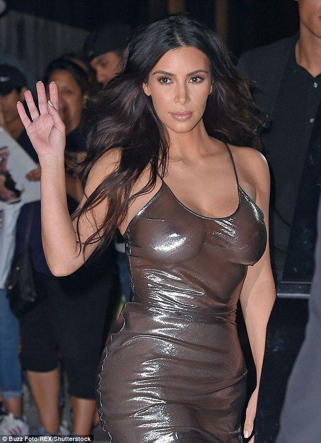 Kim Kardashian goes braless in sheer metallic dress in NYC 5520a52b0