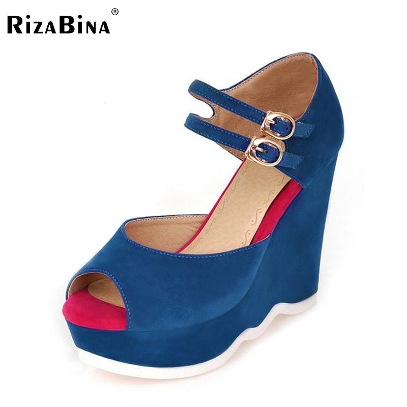 31.10$  Buy now - http://ali8n2.shopchina.info/go.php?t=1909787805 - RizaBina free shipping wedge sandals women sexy platform footwear fashion shoes P14044 EUR size 34-39  #buyonlinewebsite