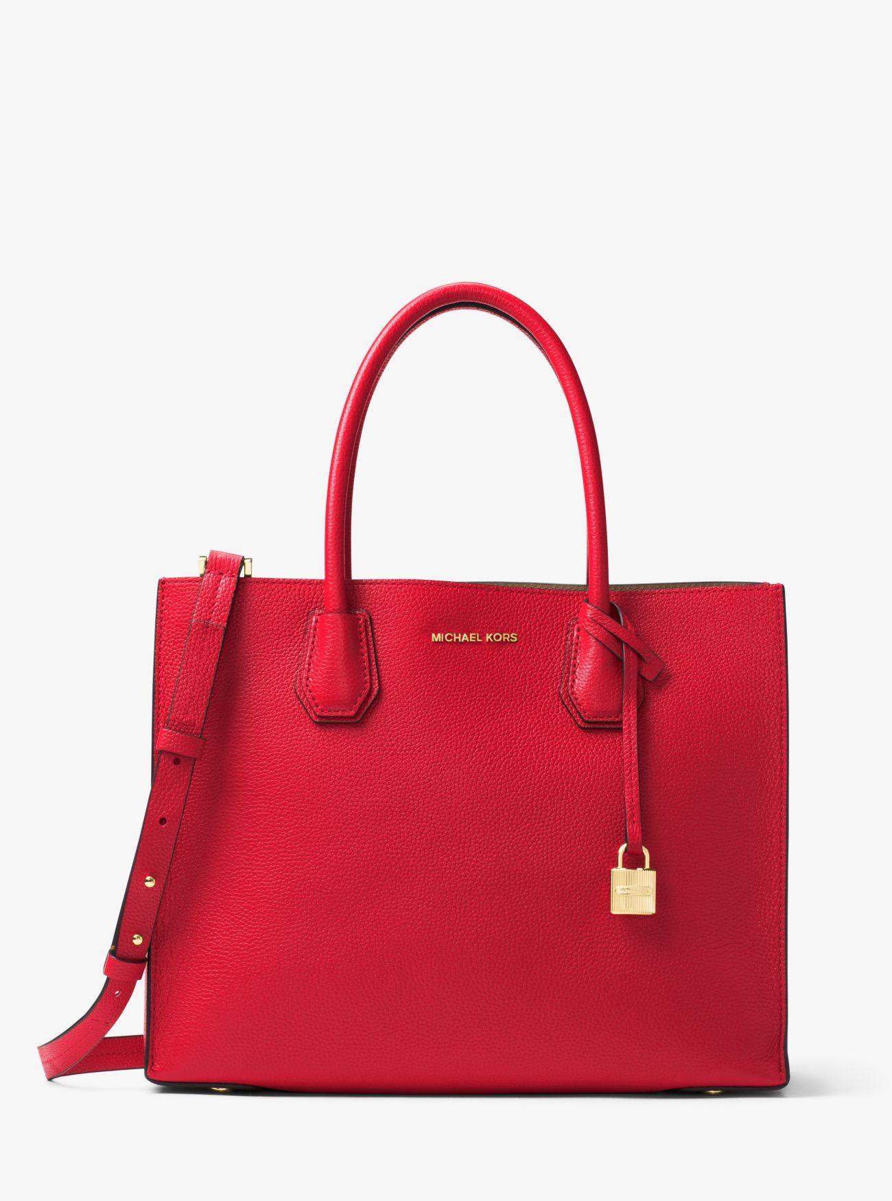 Grand sac à main Mercer à soufflets en cuir grainé | Michael Kors