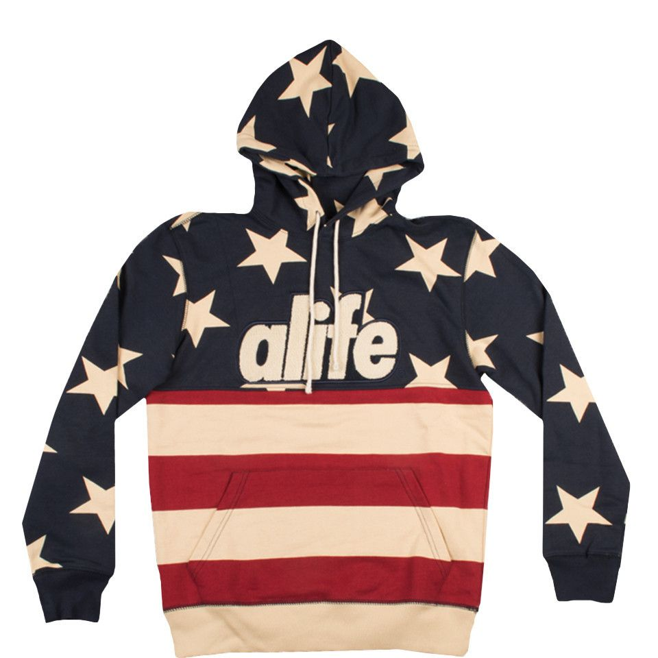 d0686347 ALIFE Star Flag Pullover Hood Navy | Men's Fashion | Fashion ...