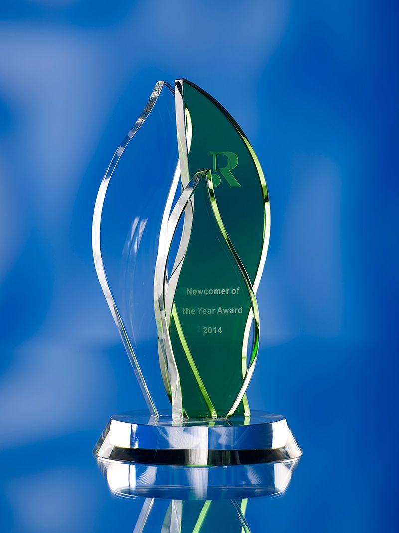 3D crystal green flame award