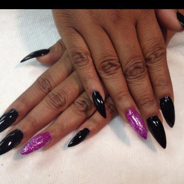 dark skin, stiletto nails, designs, manicure
