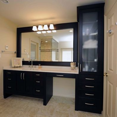 Pin By Michelle Anzures On If Home Is Where The Heart Is Bathroom With Makeup Vanity Bathroom Vanity Trendy Bathroom