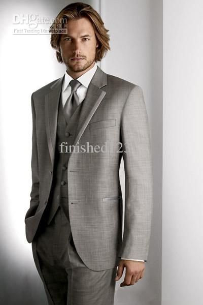 Top Selling Two Buttons Light Grey Groom Tuxedos Notch Lapel ...