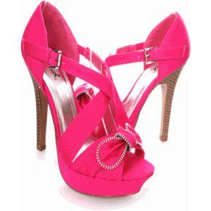 Fuchsia Fabric Bow Platform Sandals