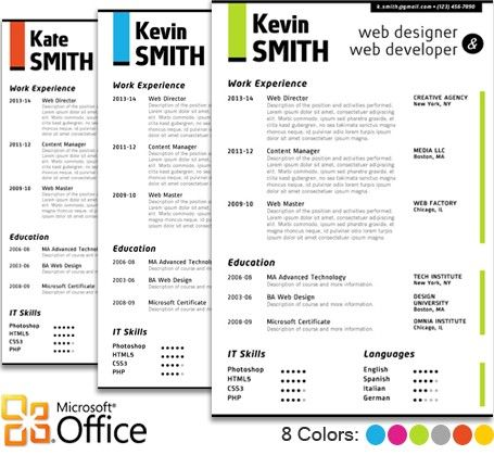Diseos Elegantes De Cv De Microsft Office  Curriculums Creativos