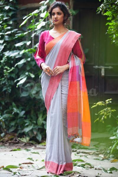 f5bad6c4af Silver Grey Khadi Cotton Saree With Dual Tone Border | Beautiful and ...