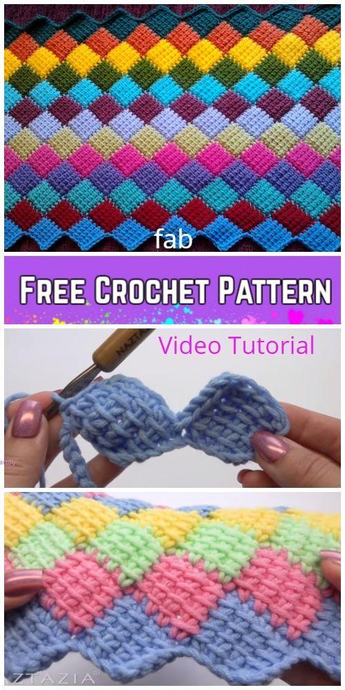 Tunisian Crochet Entrelac Diamond Blanket Free Crochet Pattern - Video #crochetapplique