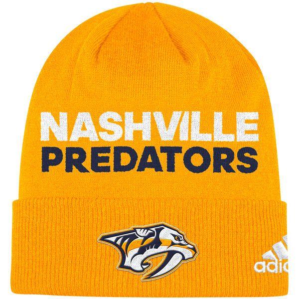 Nashville Predators adidas Umkleideraum Cuffed Strickmütze Gold