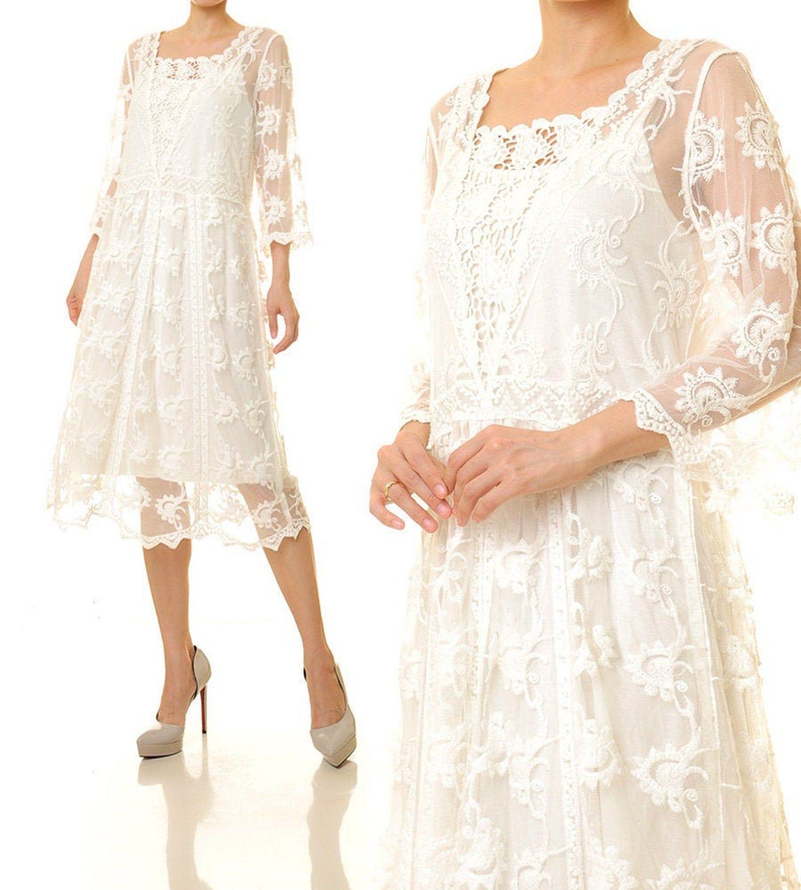 White Lace Dress Lace Overlay Dress Tunic Bridal Beach Etsy Lace Dress Boho Lace White Dress Lace Overlay Dress [ 1764 x 1588 Pixel ]