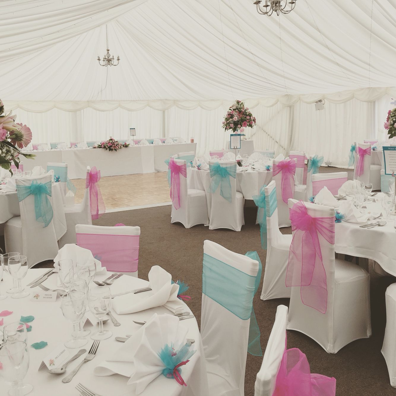Chair Cover Hire Telford Shropshire Brown Leather Ebay Terquoise And Fusica Organza By Timeless The Marquee