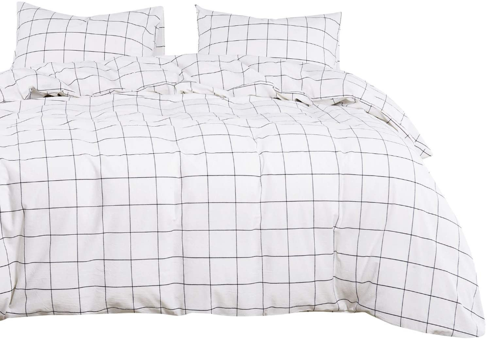 Amazon Com Wake In Cloud White Grid Duvet Cover Set 100 Washed Cotton Bedding White With Black Gr Twin Size Bed Sheets Duvet Cover Sets Twin Size Bedding