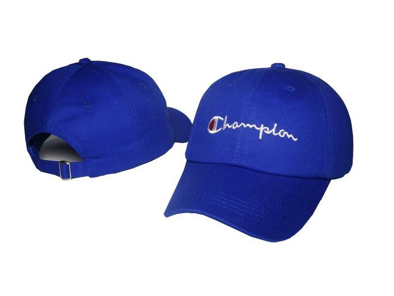 Mens   Womens Champion Brand Script Iconic Logo Vintage Golf Fashion  Adjustable Strap Back Cap - Blue 59f04ffd75