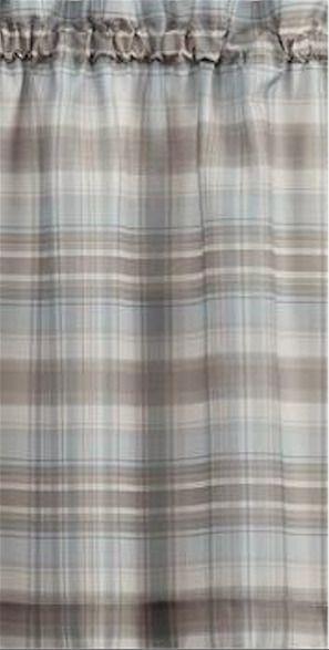 New No 918 Dawson Microfiber Curtain Panel Plaid Blue Brown Tan